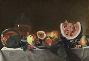 Watermelon Painting Posters - Still life with watermelons and carafe of white wine Poster by Carlo Saraceni