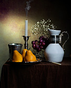 Roemer Framed Prints - Still Life with White Jar-Grapes and Pears Framed Print by Levin Rodriguez