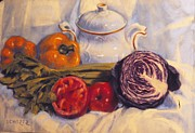 Interior Still Life Painting Metal Prints - Still Life With White Tea Kettle Metal Print by Howard Scherer