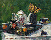Teapot Paintings - Still life with white teapot by Juliya Zhukova