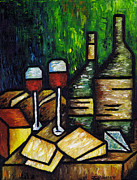 Wine Bottle Paintings - Still Life With Wine and Cheese by Kamil Swiatek
