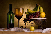 Wine Cellar Photos - Still Life With Wine and Fruit by Brian Enright
