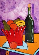 Red Cat Wine Prints - Still Life With Wine Bottle Print by Atelier De  Jiel