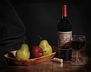 Apple Art Pyrography Posters - Still Life with Wine Bottle Poster by Krasimir Tolev