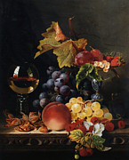 Fruit And Wine Metal Prints - Still Life With Wine Glass And Silver Tazz Metal Print by Edward Ladell
