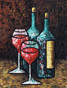 Wine Glasses Painting Originals - Still Life with Wine by Kamil Swiatek