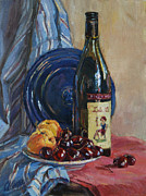 Still-life With Peaches Prints - Still life with Wine Print by Svetlana Magovskaya