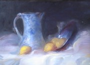 Old Pitcher Painting Originals - Still Life with Yellows and Blues by Patricia Kimsey Bollinger