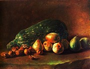18th Century Paintings - Still life - Zuchini -Pears - Walnuts by Pg Reproductions