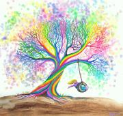 Whimsical Children Prints - Still MOre Rainbow Tree Dreams Print by Nick Gustafson