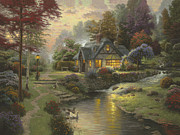 Stone Bench Framed Prints - Stillwater Cottage Framed Print by Thomas Kinkade