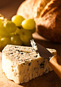 Blue Cheese Posters - Stilton Cheese With Grapes Poster by Christopher and Amanda Elwell