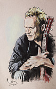 Celebrities Pastels Posters - Sting Poster by Melanie D