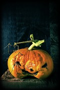 Halloween Folk Art Posters - Stingy Jack - Scary Halloween Pumpkin Poster by Edward Fielding