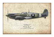 Fighters Prints - Stinky Duane Beeson Spitfire - Map Background Print by Craig Tinder