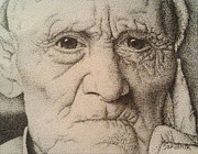 Pensive Drawings Posters - Stippling of an Old Man Poster by Lisa Marie Szkolnik