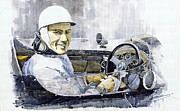 Retro Portret Paintings - Stirling Moss by Yuriy  Shevchuk