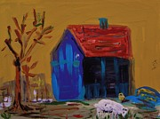 Red Roof Drawings - Stirring Barn Colors by Mary Carol Williams