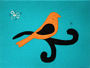 Featured Tapestries - Textiles Originals - Stitched Bird by Project Return