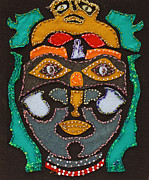 Outsider Art Tapestries - Textiles - Stitched Face by Vera