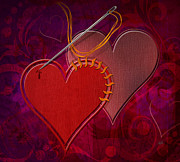 Stitched Hearts Print by Bedros Awak