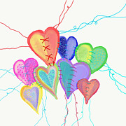 Repaired Digital Art Posters - Stitched Hearts Poster by Darlene Seale