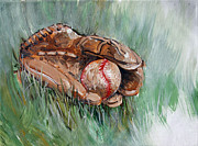 Baseball Painting Framed Prints - Stitches Framed Print by Gregory Peters