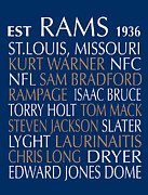 Nfl Digital Art Metal Prints - St.Louis Rams Metal Print by Jaime Friedman
