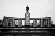 Berlin Germany Prints - stoa of the with statue of soldier soviet war memorial tiergarten Berlin Germany Print by Joe Fox