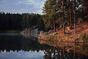 Log Cabin Art Prints - Stockade Reflections Print by Deborah Johnson