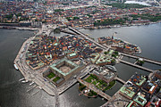 Helicopter Tapestries Textiles Framed Prints - Stockholm Aerial View Framed Print by Lars Ruecker