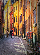 Oil Lamp Digital Art Posters - Stockholm Gamla Stan Painting Poster by Antony McAulay