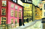 Old Town Pastels Framed Prints - Stockholm Sketch 2 Framed Print by Erik Pearson