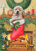 Golden Lab Paintings - Stocking Stuffer by Richard De Wolfe