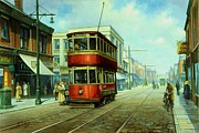 1950s Painting Framed Prints - Stockport tram. Framed Print by Mike  Jeffries