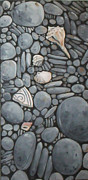 Round Shell Painting Framed Prints - Stone Beach Keepsake Rocky Beach Shells and Stones Framed Print by Mary Hubley