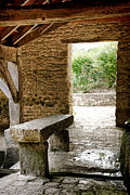 Small French Village Posters - Stone Bench Poster by Olivier Le Queinec