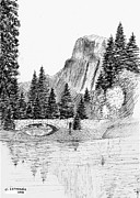 Mountain Scene Drawings Prints - Stone Bridge Print by Al Intindola