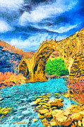 Surreal Landscape Painting Metal Prints - Stone bridge Metal Print by George Rossidis