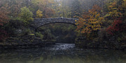 Wine Reflection Art Prints - Stone Bridge in Autumn II Print by Michele Steffey