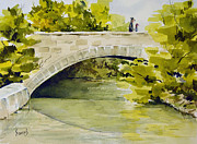 Architecture Painting Framed Prints - Stone Bridge Framed Print by Sam Sidders