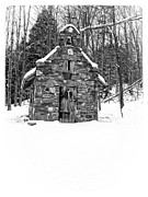 Wedding Chapel Posters - Stone Chapel in the Woods Black and White Poster by Edward Fielding