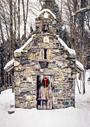 Wreath Prints - Stone Chapel in the Woods Print by Edward Fielding