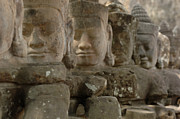 Cambodia Photos - Stone Figures Cambodia by Bob Christopher