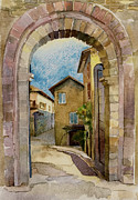 Road Travel Drawings Prints - stone gate in Assisi Italy Print by Natalia Sinelnik