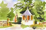 Warm Summer Painting Posters - Stone Gazebo at The Maples Poster by Kip DeVore