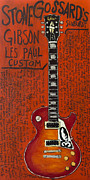 Pearl Jam Paintings - Stone Gossard Gibson Les Paul by Karl Haglund