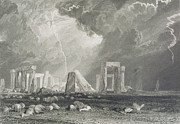 Circle Drawings Posters - Stone Henge Poster by Joseph Mallord William Turner