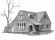 Old Houses Drawings Acrylic Prints - Stone House Pen and Ink Acrylic Print by Renee Forth Fukumoto