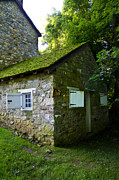 Stone House Digital Art Prints - Stone House with Mossy Roof Print by Bill Cannon